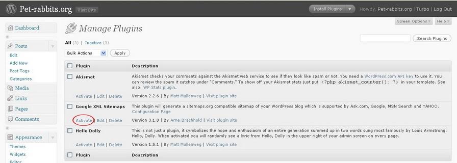 Activate Google XML Sitemaps