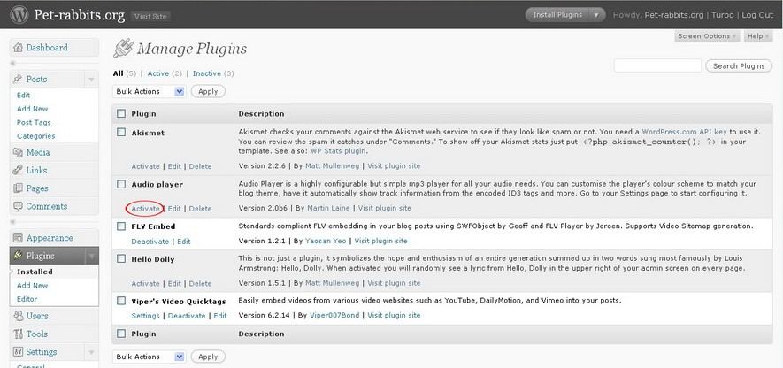 Activate  WordPress Audio Player