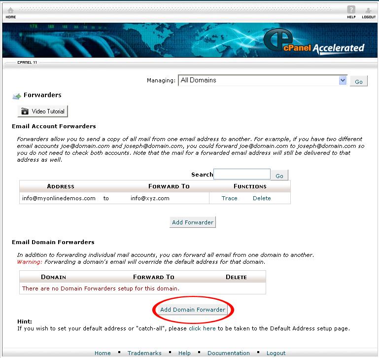 Add Domain Forwarder