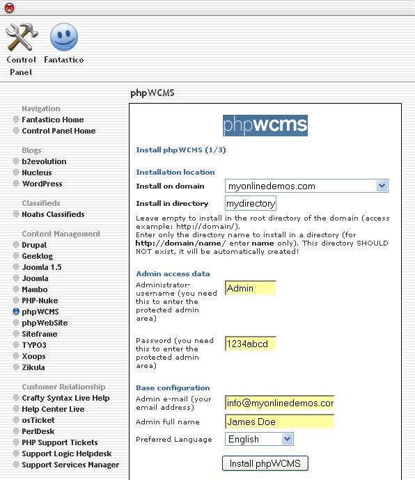 Admin full name text box