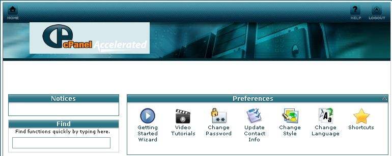 Changed cpanel theme