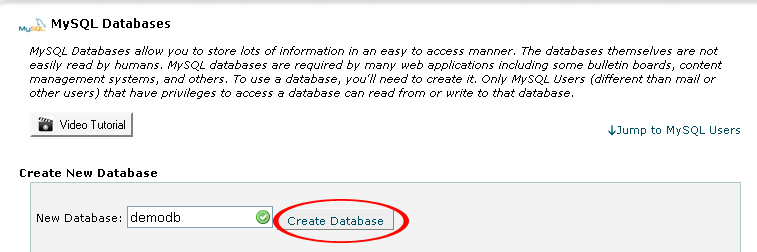 Create Database button