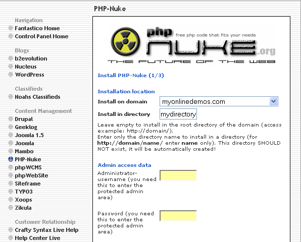 How to Install PHP Nuke through Cpanel
