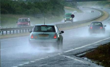 Drive car in rain
