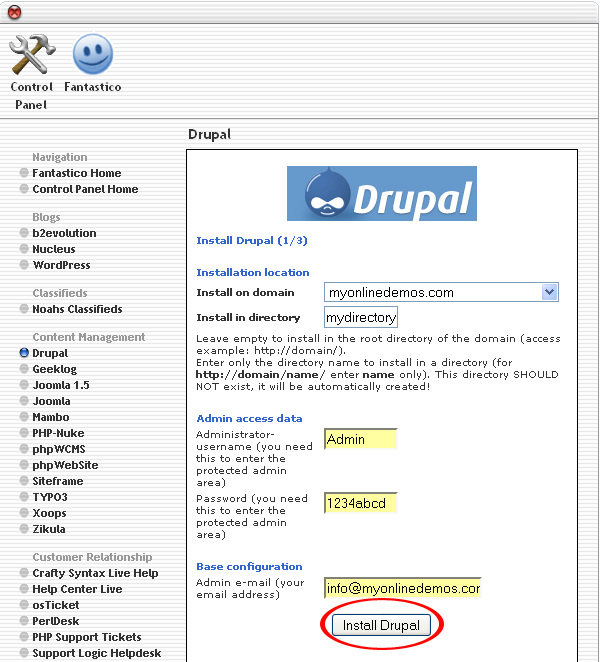 Install Drupal button