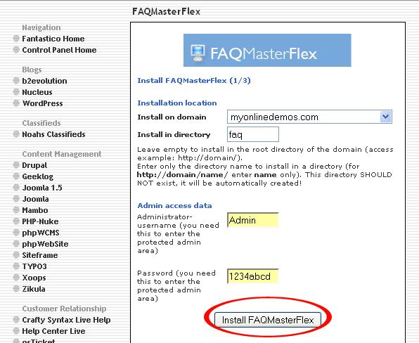 Install FAQMasterFlex button