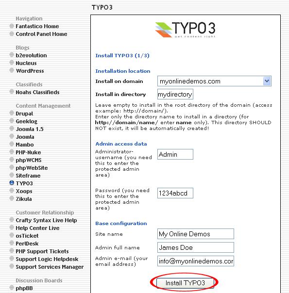 Install TYPO3 button