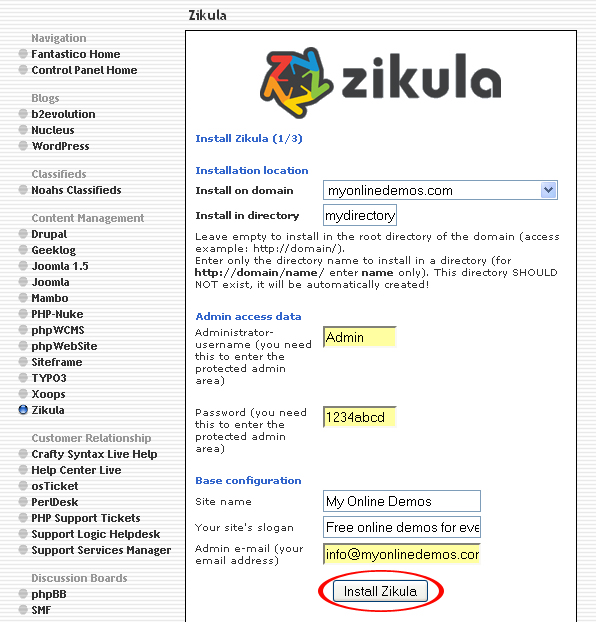 How to Install Zikula through Cpanel