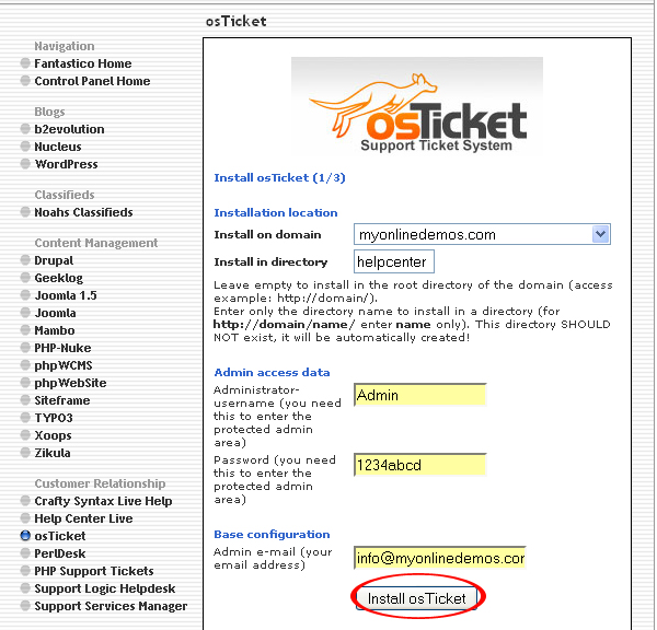 How to Install osTicket through Cpanel