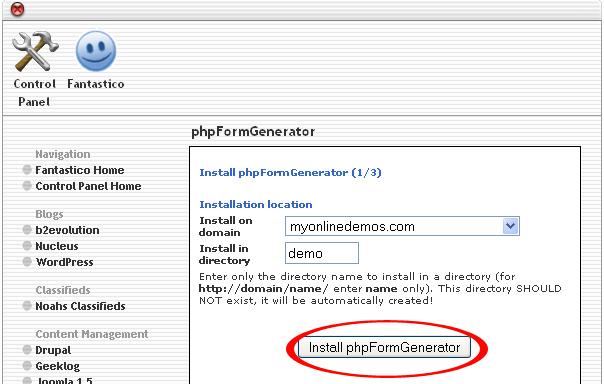 Install phpFormGenerator button