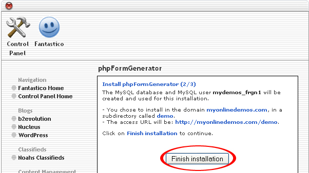 Installation button