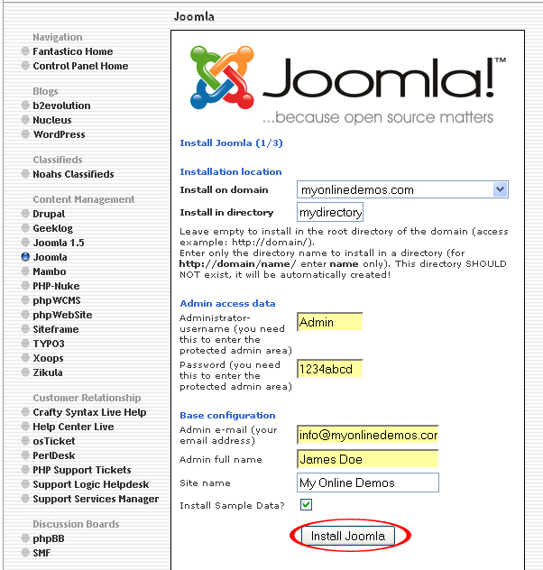 Joomla button