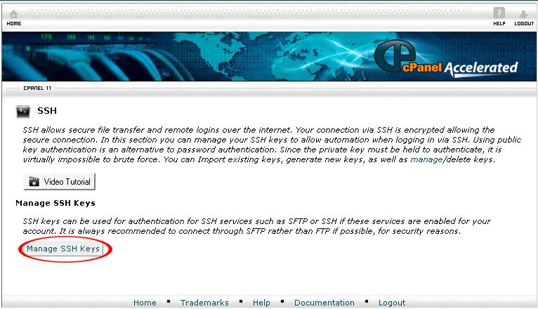 SSH Keys button