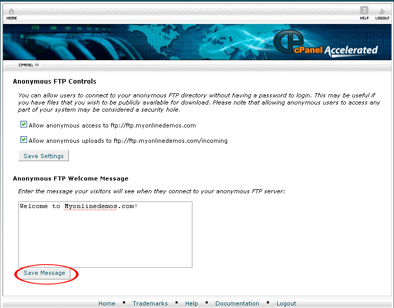 How to Create an Anonymous FTP Controls