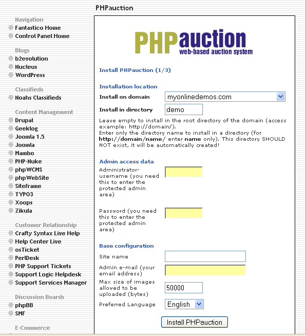 How to Install PHPauction
