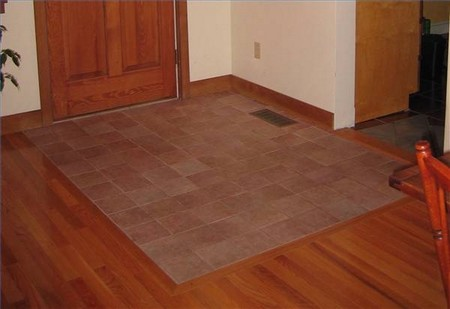How to lay hard floor tiles for Hardwood floors next to tile