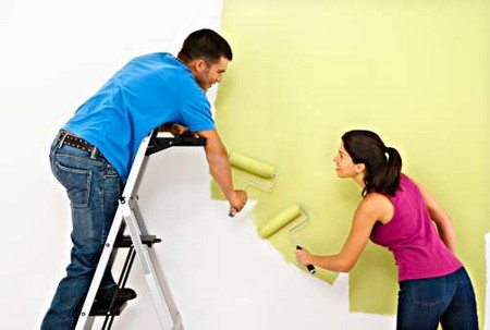 How to Change the Colour of your Home Couple Painting Wall