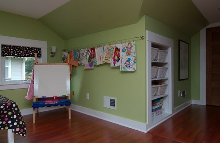 How to Hang Childrens Art with a Curtain Rod Curtain Rod